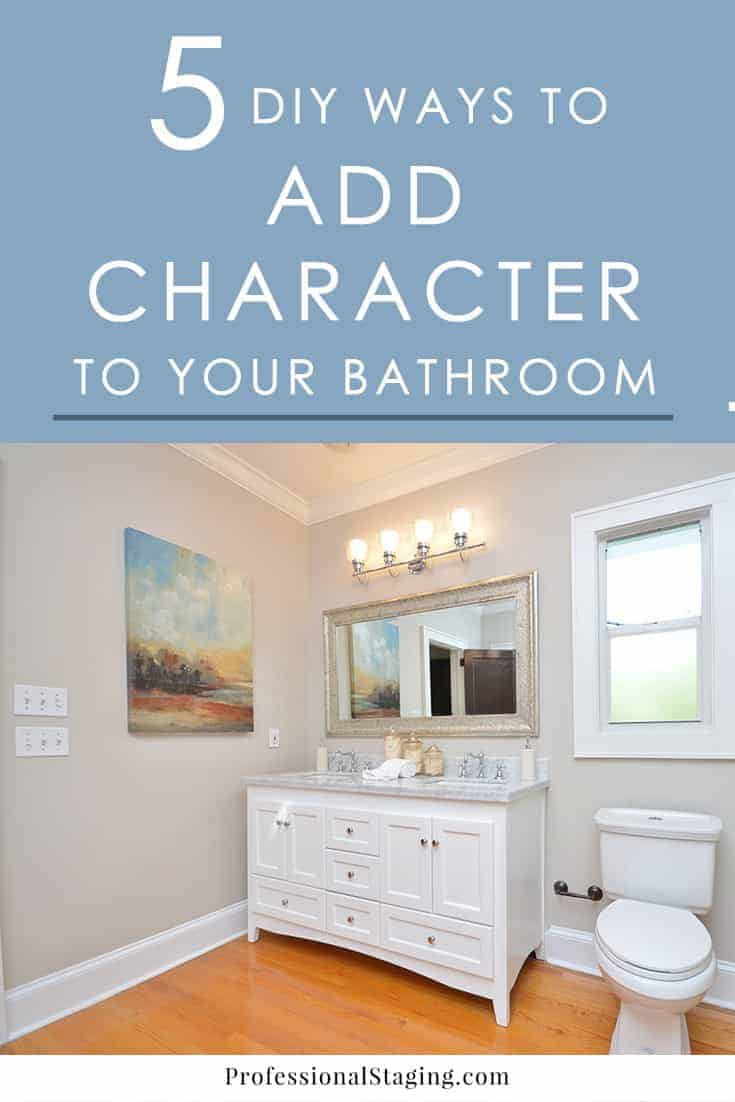 Want to give your outdated or builder bathroom more character without spending a lot? Try these easy DIY decorating ideas!