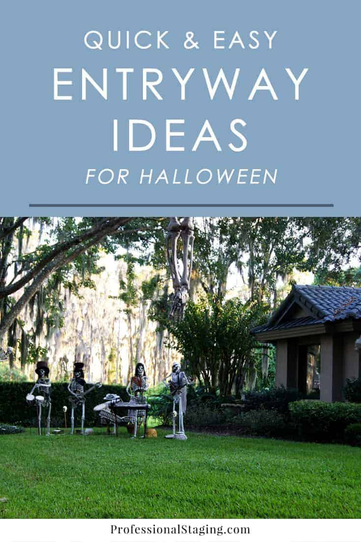 Dress up your entryway for Halloween with these simple, yet festive ideas that are sure to delight trick-or-treaters and guests!