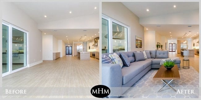 Living room before and after for Before and after staging