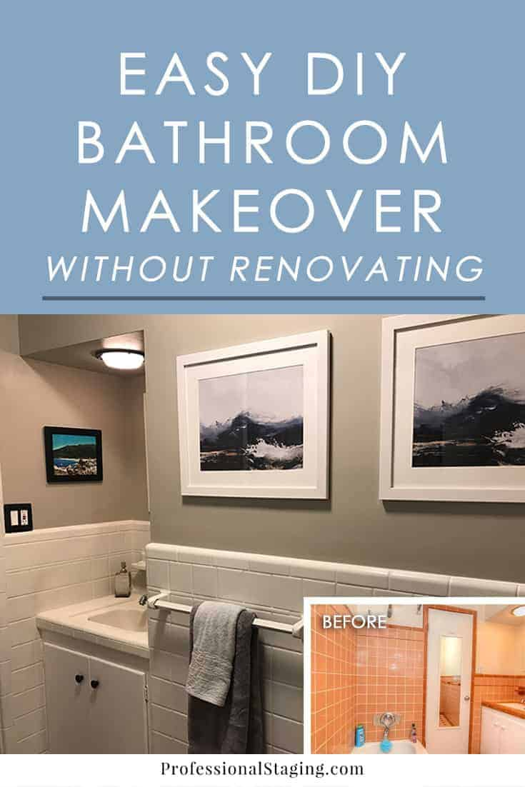 We transformed TWO outdated bathrooms in a weekend without doing any major renovations. Click to see the step-by-step process for a DIY bathroom makeover!