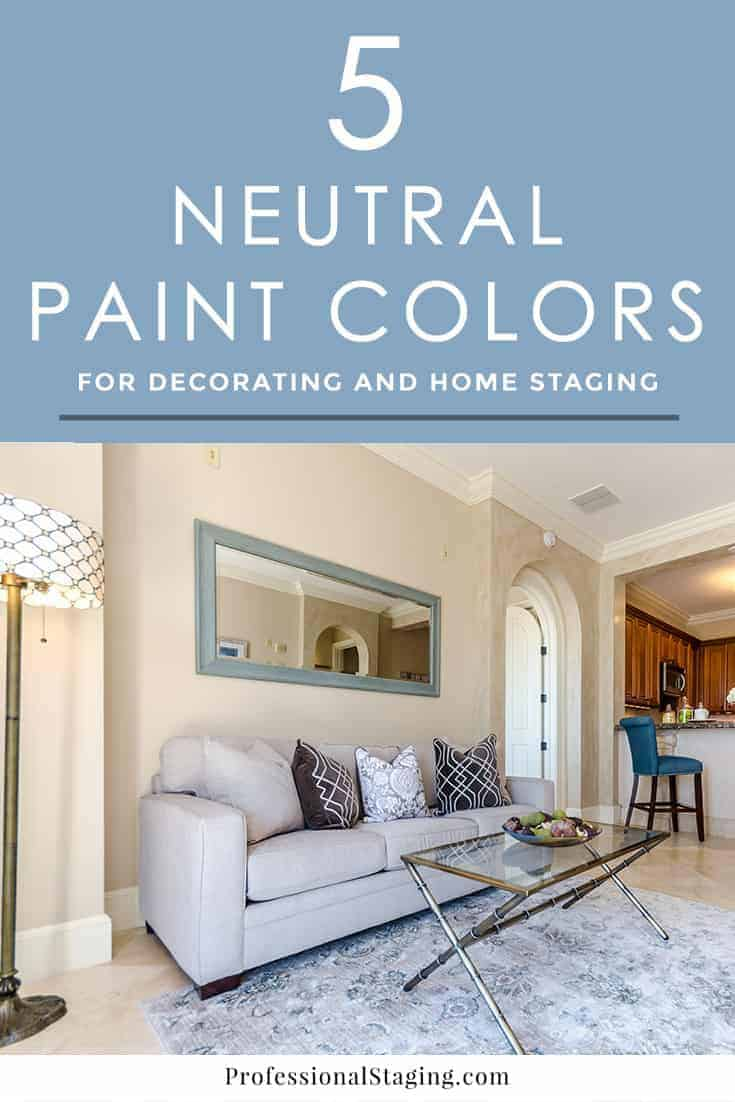 Looking for the perfect neutral paint color? Here are 5 of our favorites, ranging from white and gray to tan, that you can use for decorating or home staging.