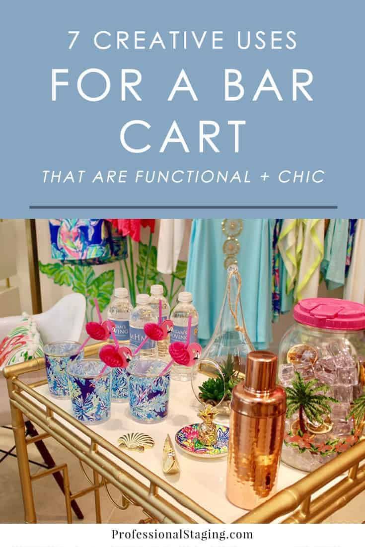 Want to add more stylish and function to your home? Try one of these creative uses for a bar cart that solve a variety of needs.