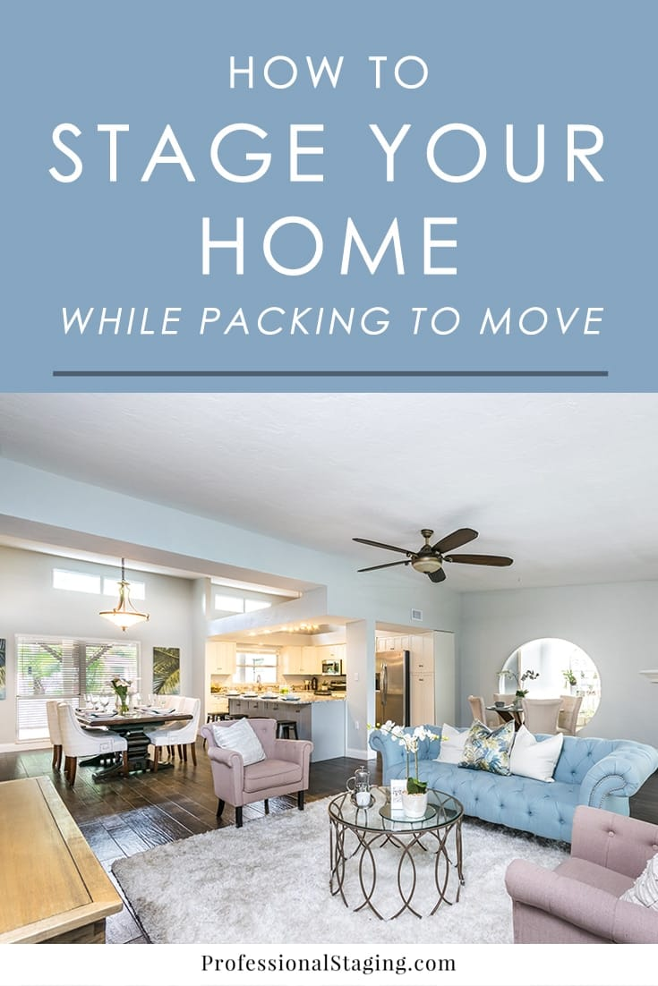 Need to start packing up your home for a move while it's still on the market? Follow these tips to make your home still look great to buyers while you get ahead on packing.