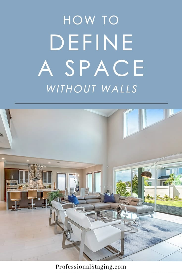 In a large space with an open concept, the arrangement of each area can be tricky. When done wrong, the whole space can feel cold, awkward, and unappealing. The key is to clearly define each space while creating a harmonious flow between them. Here are some simple, effective ways to define a space without walls and even create some privacy when necessary.