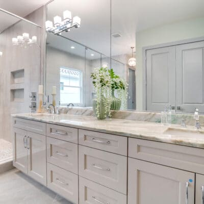 Dual vanity in the master bathroom at 1218 Guernsey Street