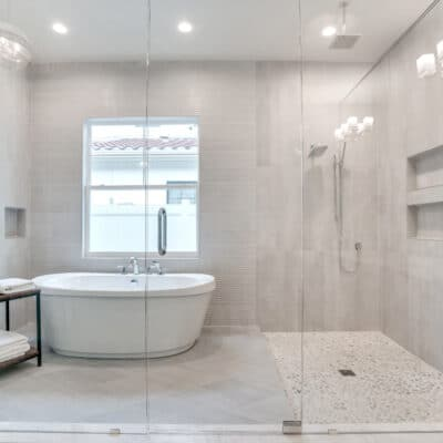 Shower and free-standing tub in the master bathroom at 1218 Guernsey Street