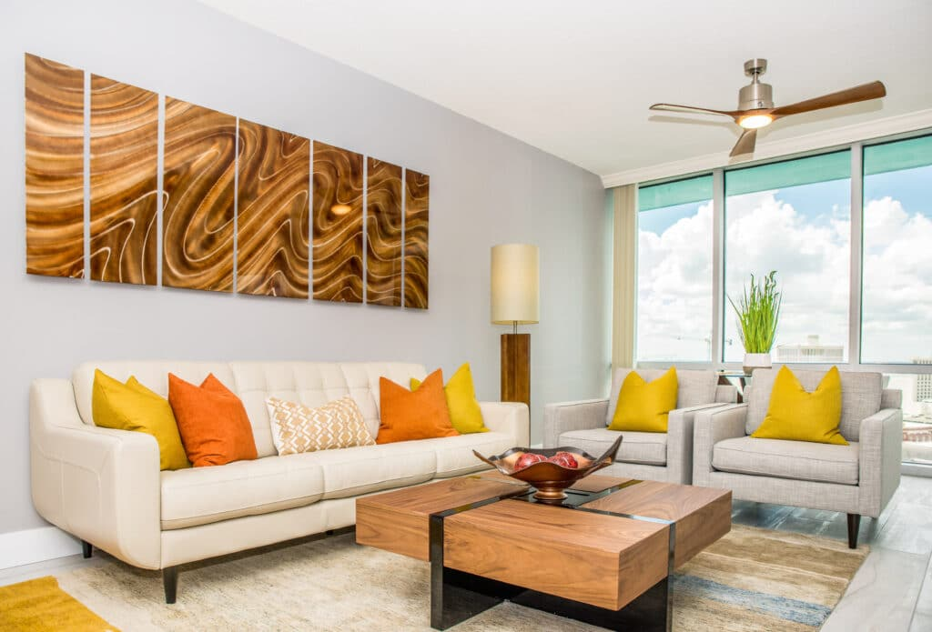 Condo living room design by Cory Leger of MHM Professional Staging