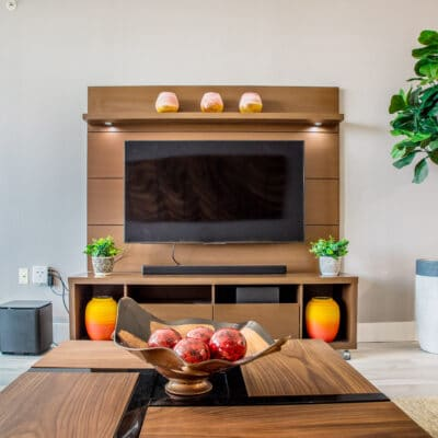 Entertainment center design by Cory Leger of MHM Professional Staging