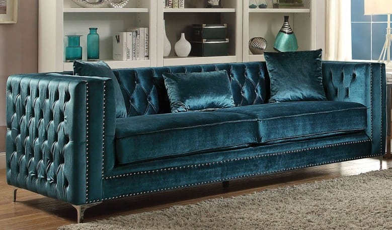 Velvet couch in dark teal