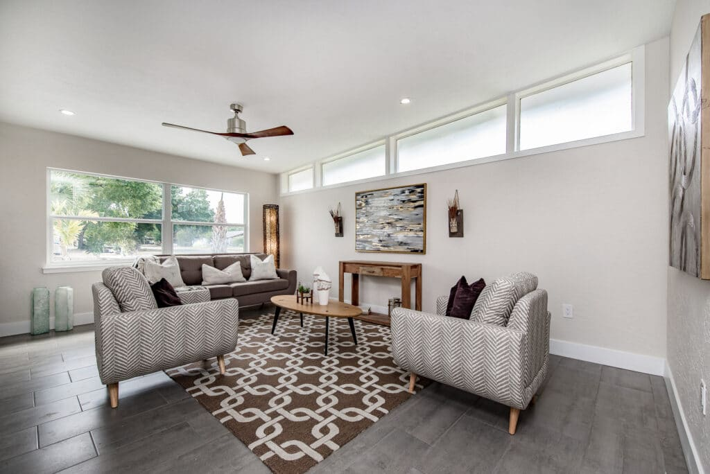 Living room with mid-century modern couches and coffee table