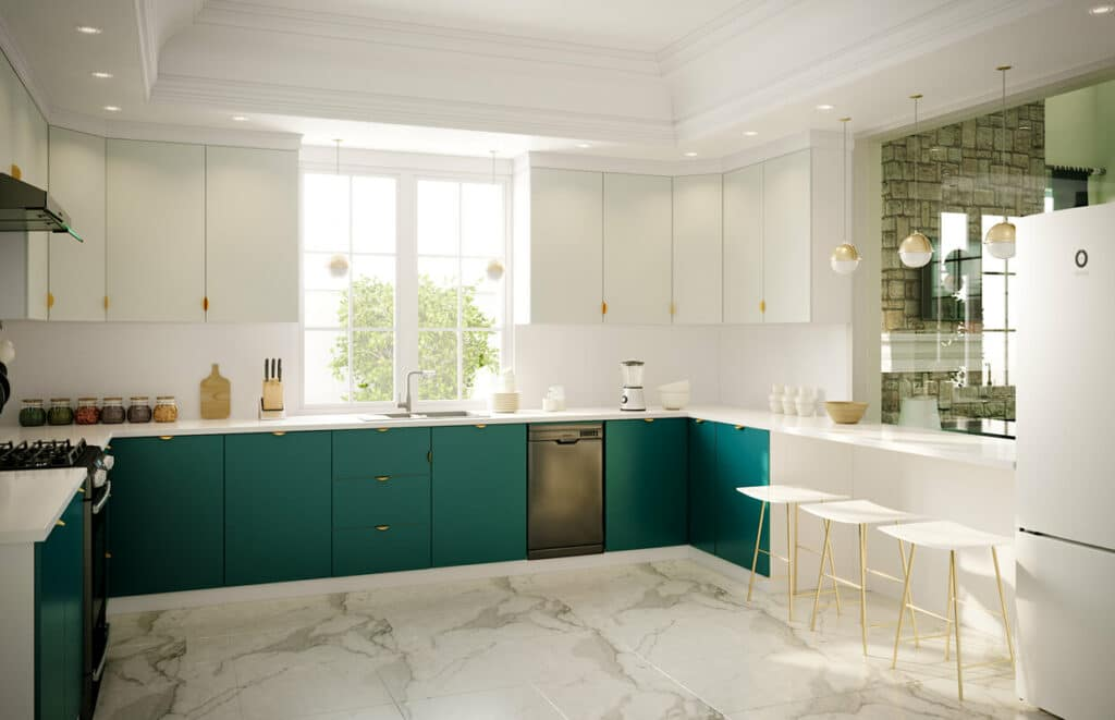 Dark teal kitchen cabinets with gold hardware