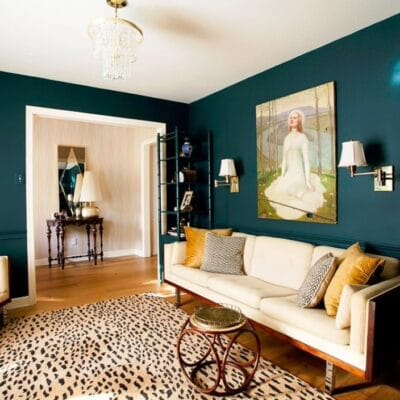Walls painted in Oceanside mixed with cream colored couch