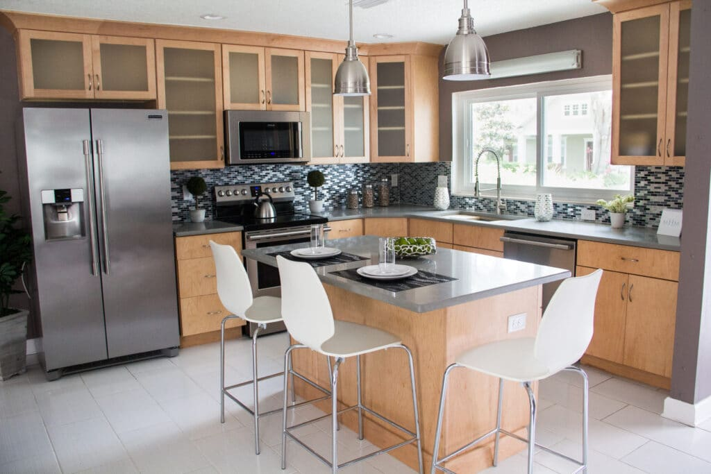 Kitchen island in the Delaney Park house from Zombie House Flipping season two episode two