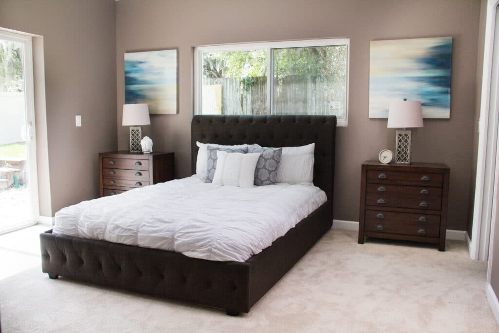 Master bedroom in the Delaney Park house from Zombie House Flipping season two episode two