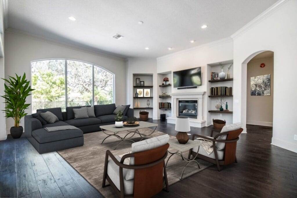 Living room with virtual staging