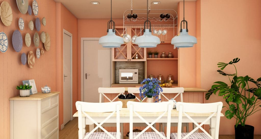Kitchen with Persimmon colored walls