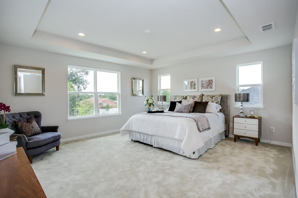 Master bedroom of the Underwood style home by luxury homebuilder Toll Brothers, staged by MHM Professional Staging