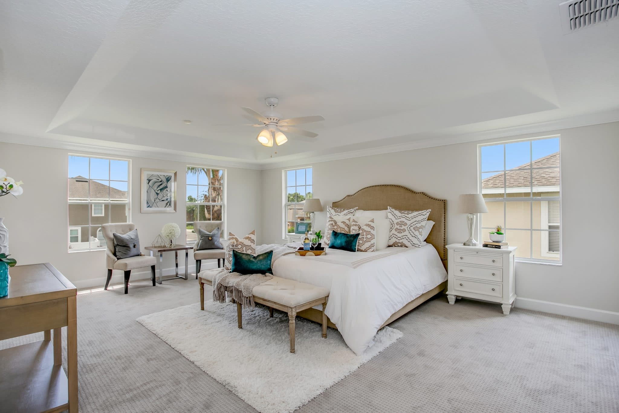 Master bedroom staged by MHM Professional Staging