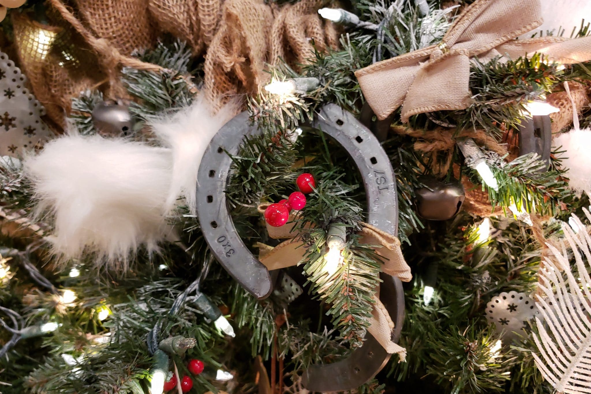 Horseshoe ornament on MHM Professional Staging's Christmas tree for the Orlando Museum of Art Festival of Trees 2019