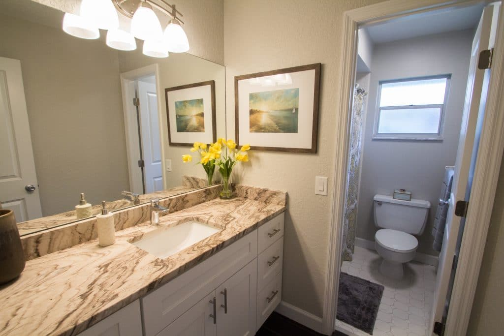 Bathroom in the home from season two episode seven of Zombie House Flipping, staged by MHM Professional Staging