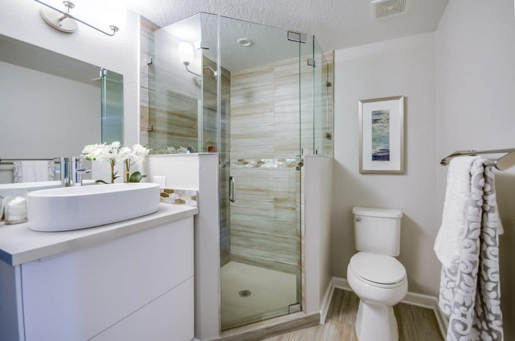 Master bathroom of the house featured in Zombie House Flipping season two episode eight, staged by MHM Professional Staging