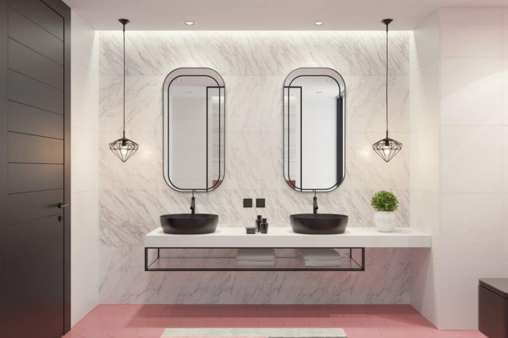 Modern bathroom with Fussy Pink floor