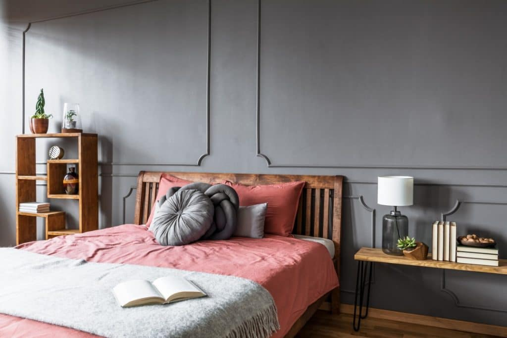 Gray bedroom with Fussy Pink bedspread