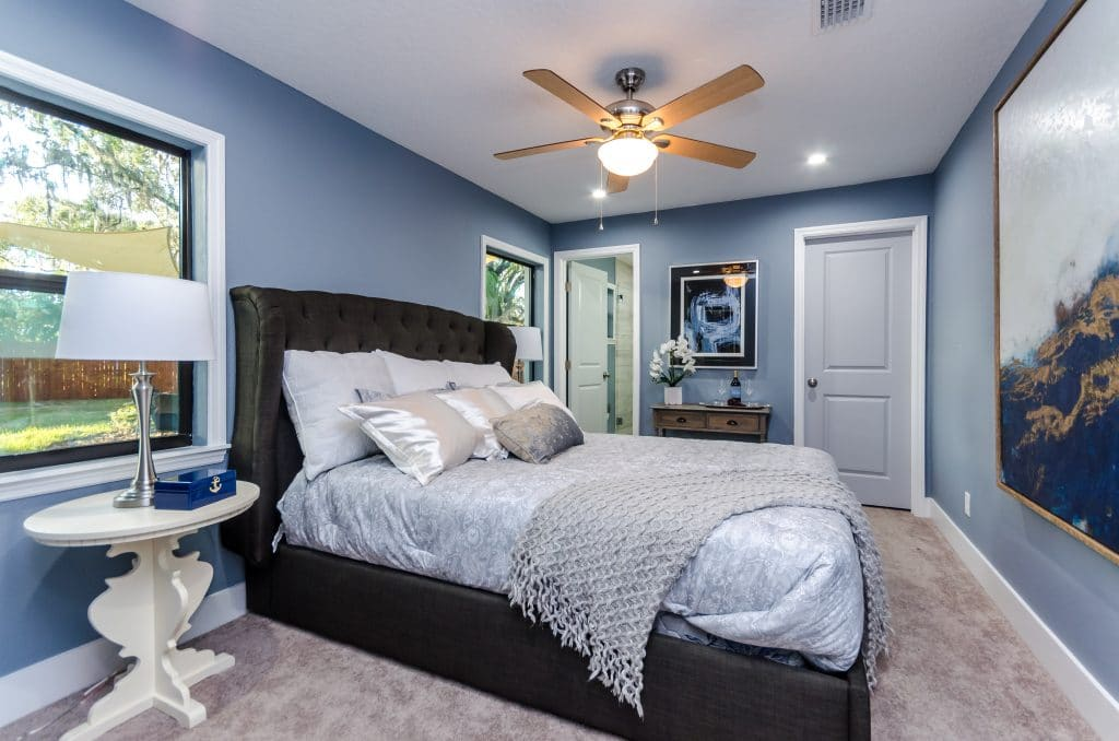 Master bedroom of the Wadeview Park home on Zombie House Flipping season two episode nine