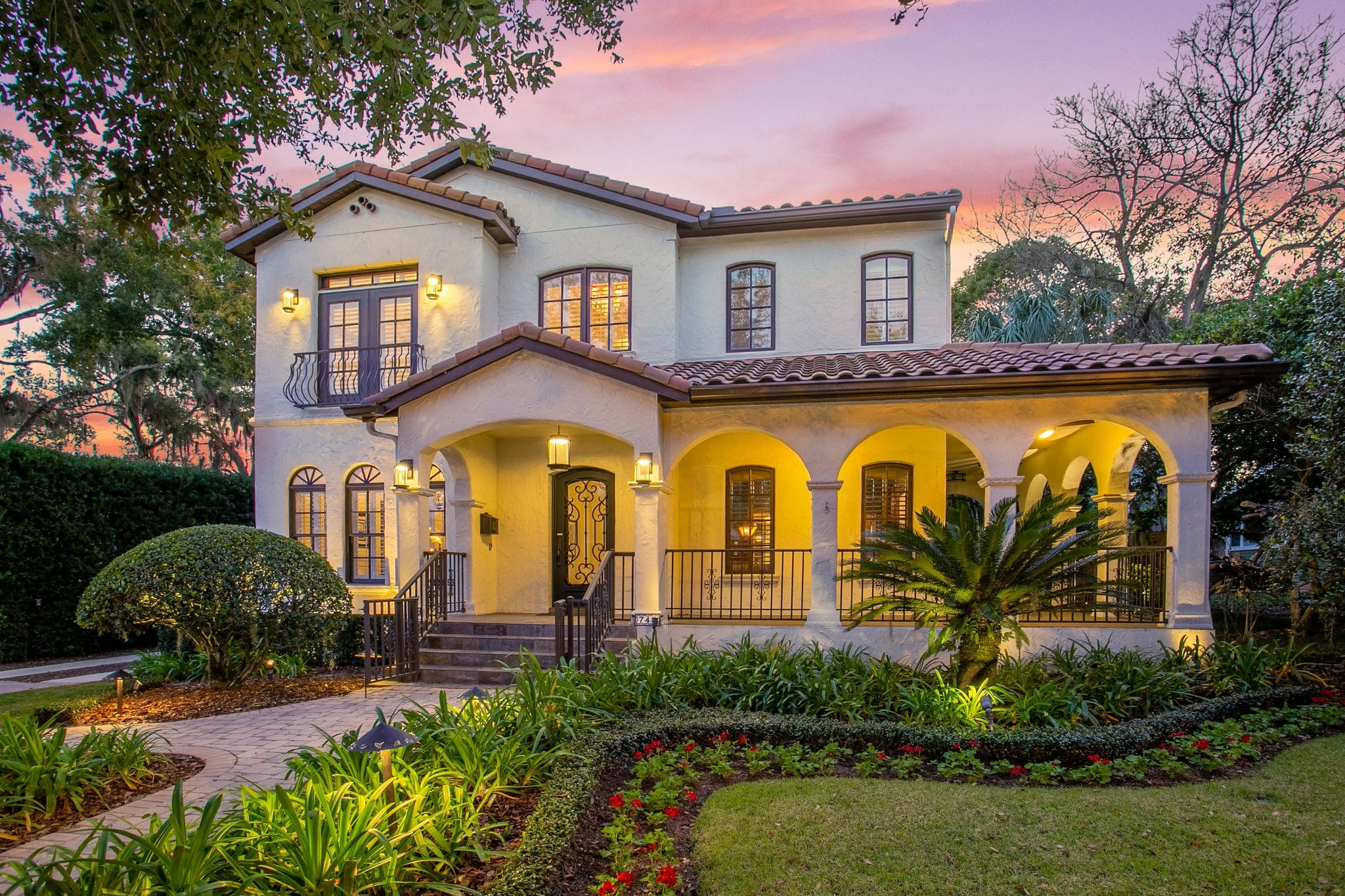 Twilight shot of a home's stunning curb appeal
