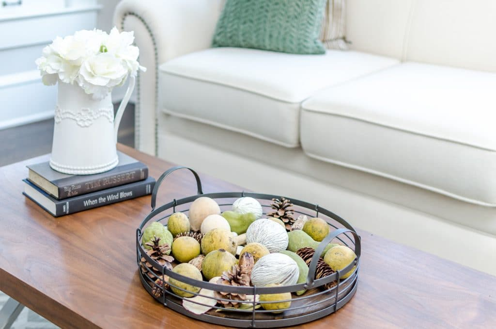 Small accessories and books on a coffee table