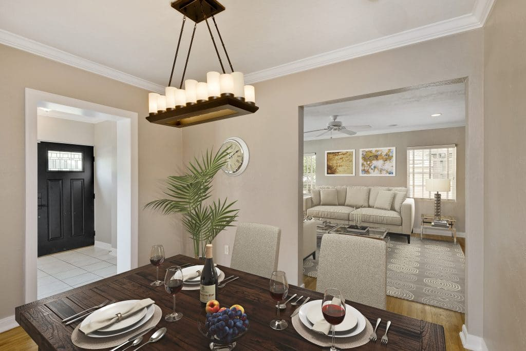 Dining room virtually staged by MHM Professional Staging
