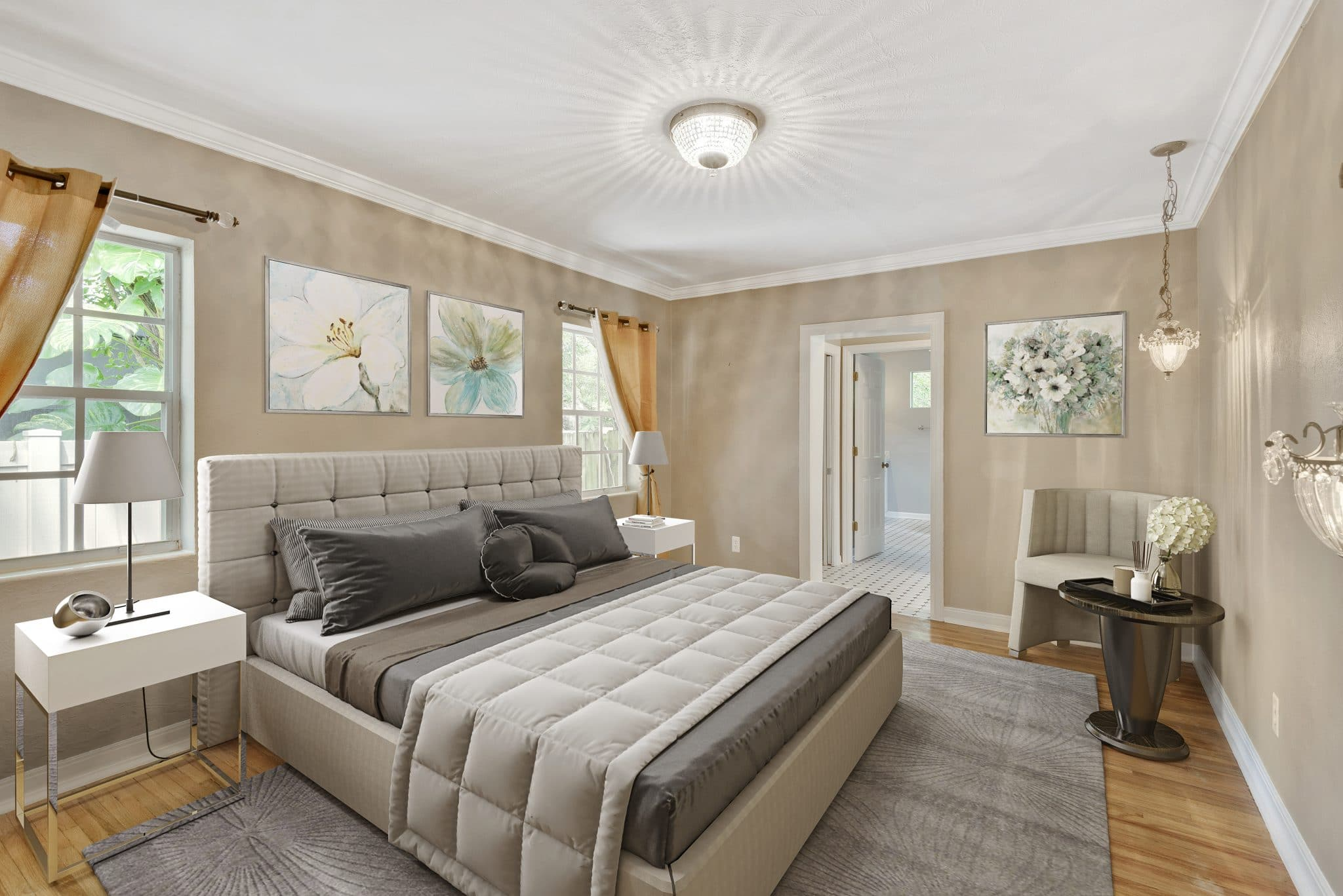 Bedroom virtually staged by MHM Professional Staging