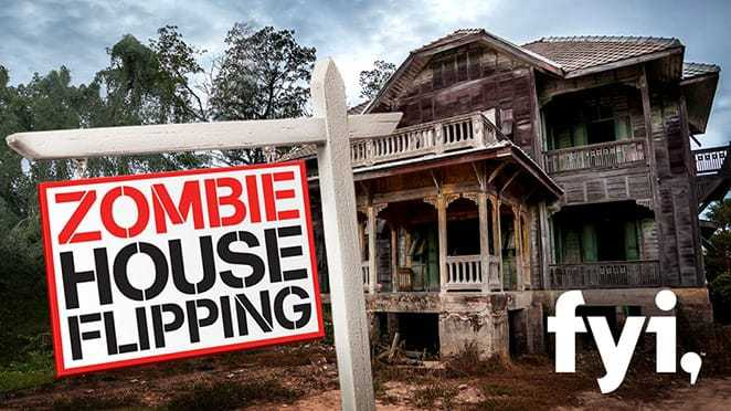 "Exterior of an abandoned mansion with ""Zombie House Flipping"" sign."