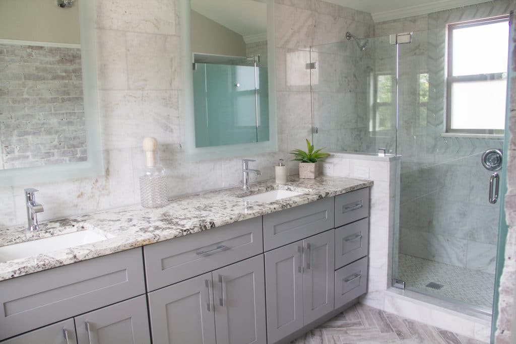 Master bathroom in the house featured on Zombie House Flipping season two episode thirteen