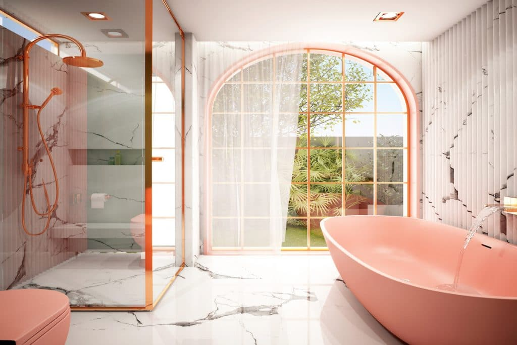 Bathroom with coral tub and marble flooring.