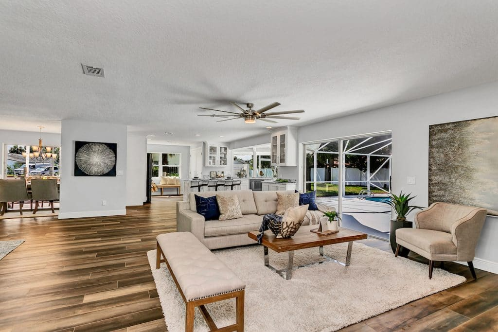 Open floor plan with view of living room staged by MHM Professional Staging.