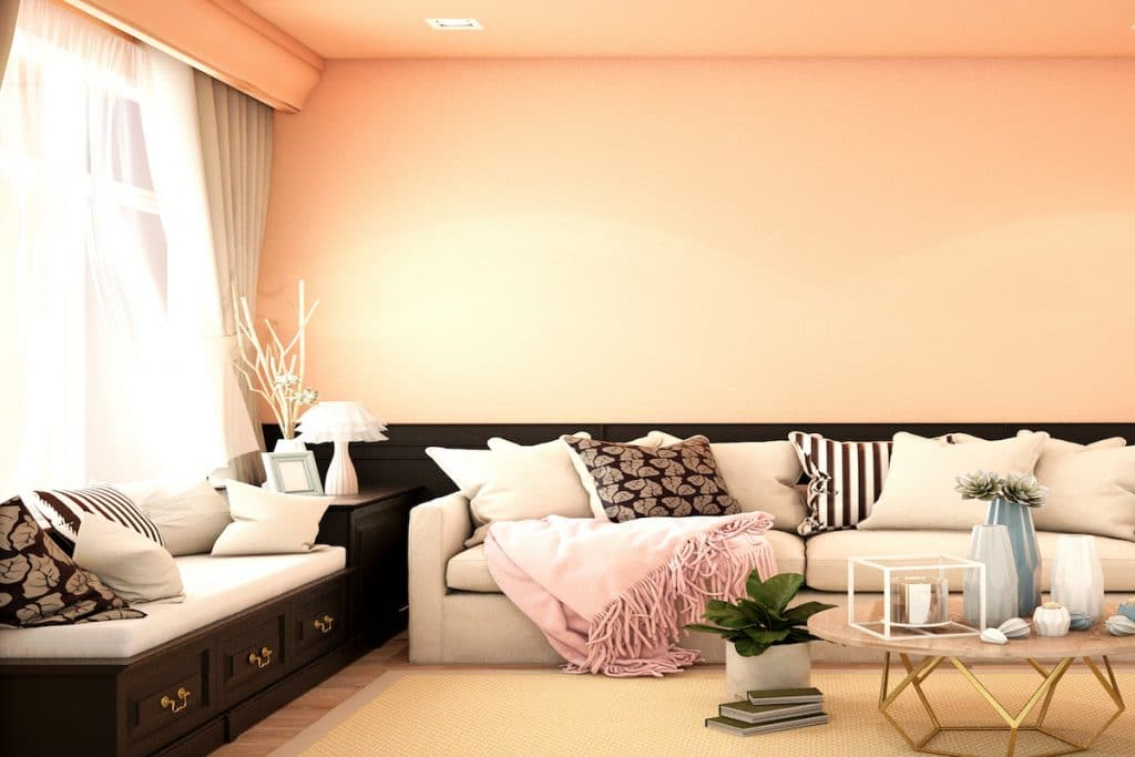 A cozy living room with sofa, throw pillows, blanket, and soft peach walls.