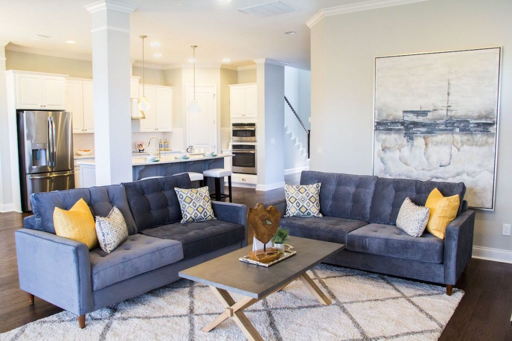 A living room with velvet sofas, a rug, and artwork staged by MHM Professional Staging.