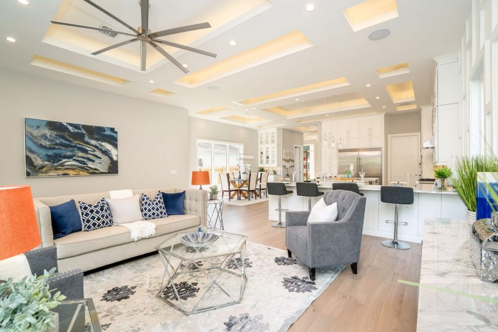 An open floor plan with living room staged by MHM Professional Staging.