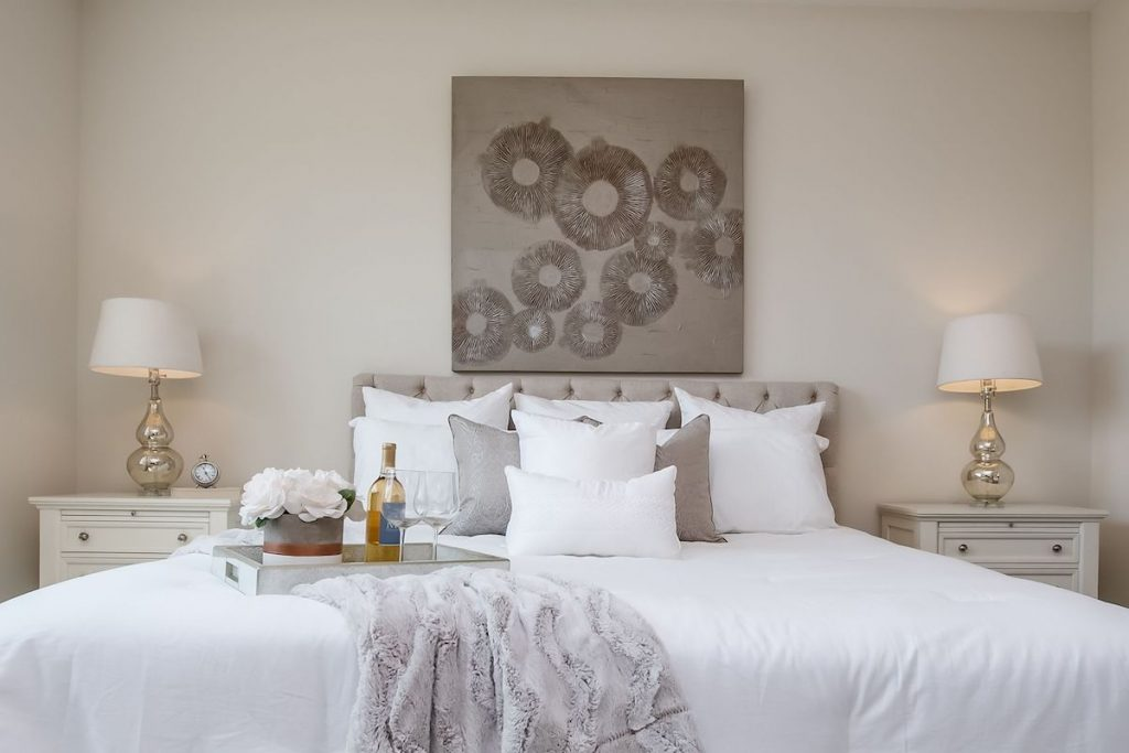 A neutral colored bedroom staged by MHM Professional Staging.