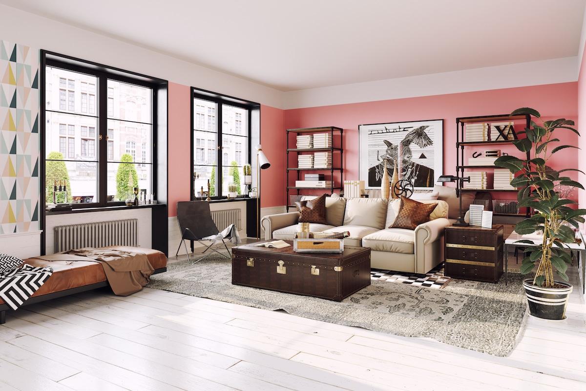 Stylish living room with Jovial walls.