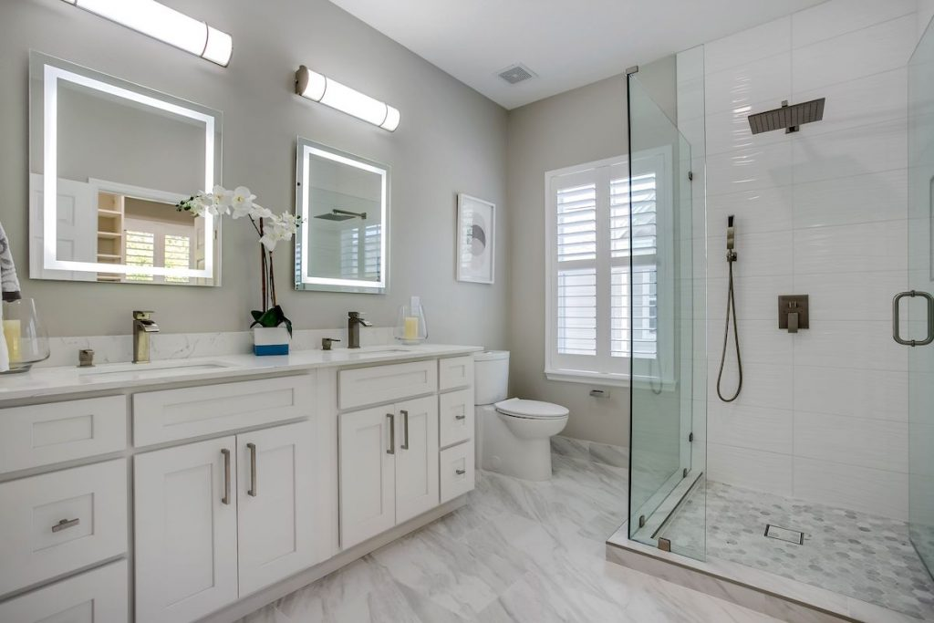 A staged bathroom with modern fixtures.
