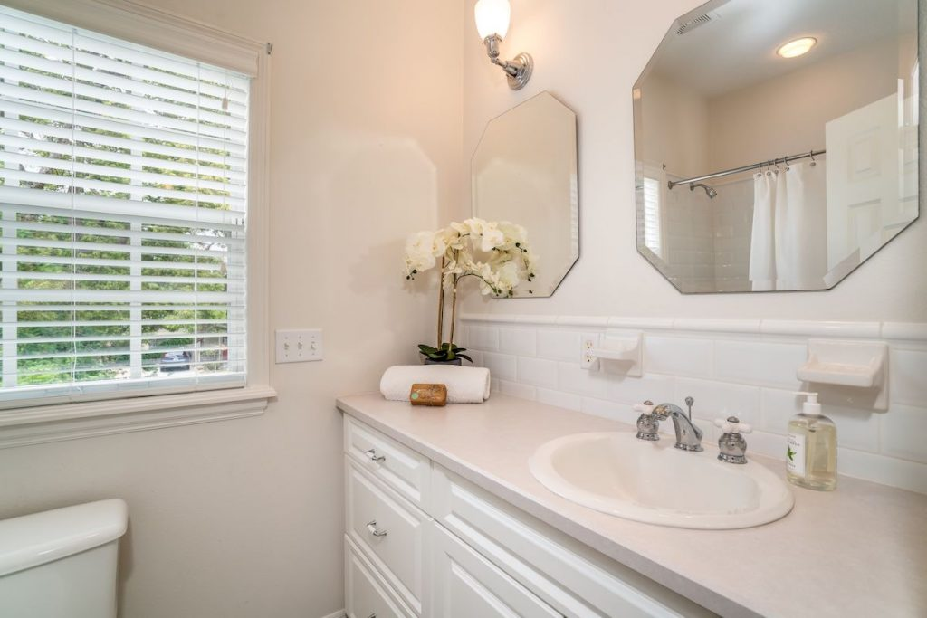 A bathroom with creamy white walls and orchid.