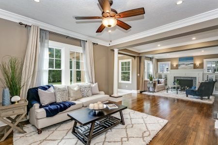 Staged home with open floor plan.