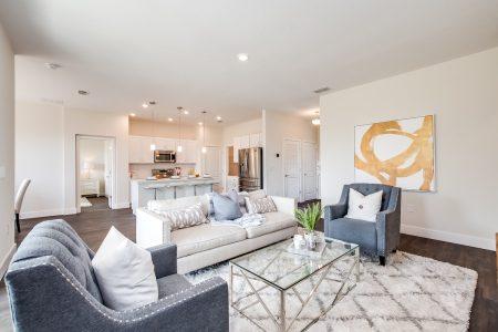 Cozy living room in open floor plan.