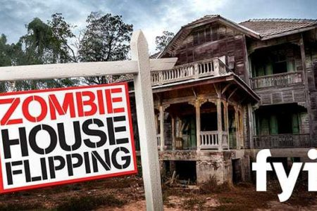 """Large abandoned home with realtor sign that says """"Zombie House Flipping""""."""