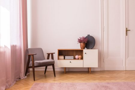 Living room painted with Diminutive Pink by Sherwin-Williams