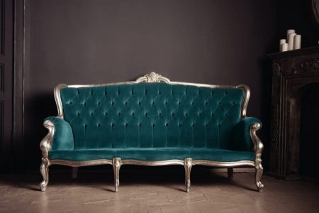 Velour couch in dark teal