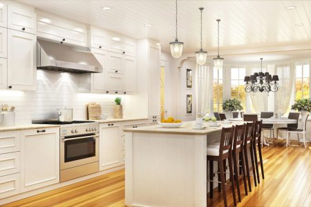 Dover White kitchen with island and barstools