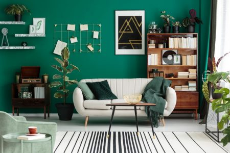 Sherwin-Williams Greens color painted on the wall of a living room with a white couch